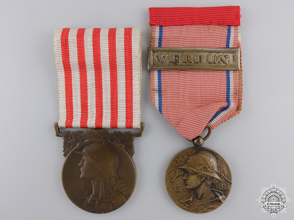 eMedals-Two First War French Campaign Medals; Verdun