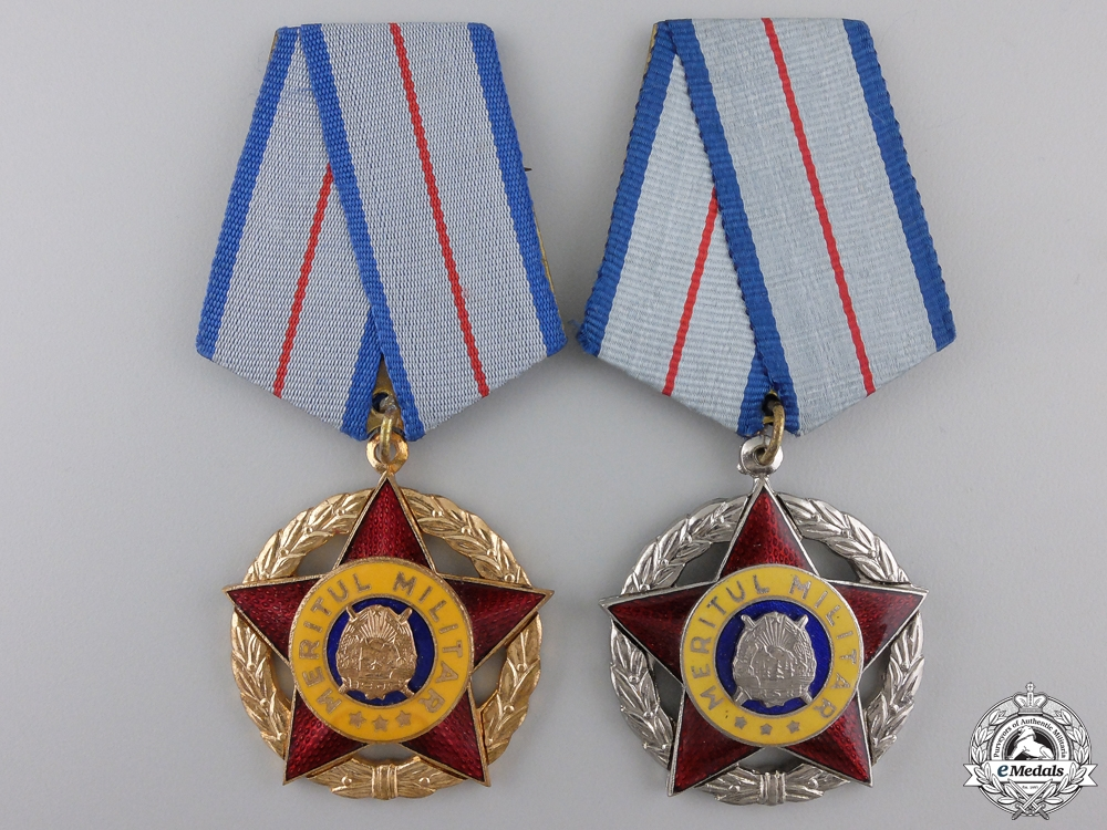 eMedals-Two Romanian Socialist Order of Military Merit; 1st and 2nd Classes