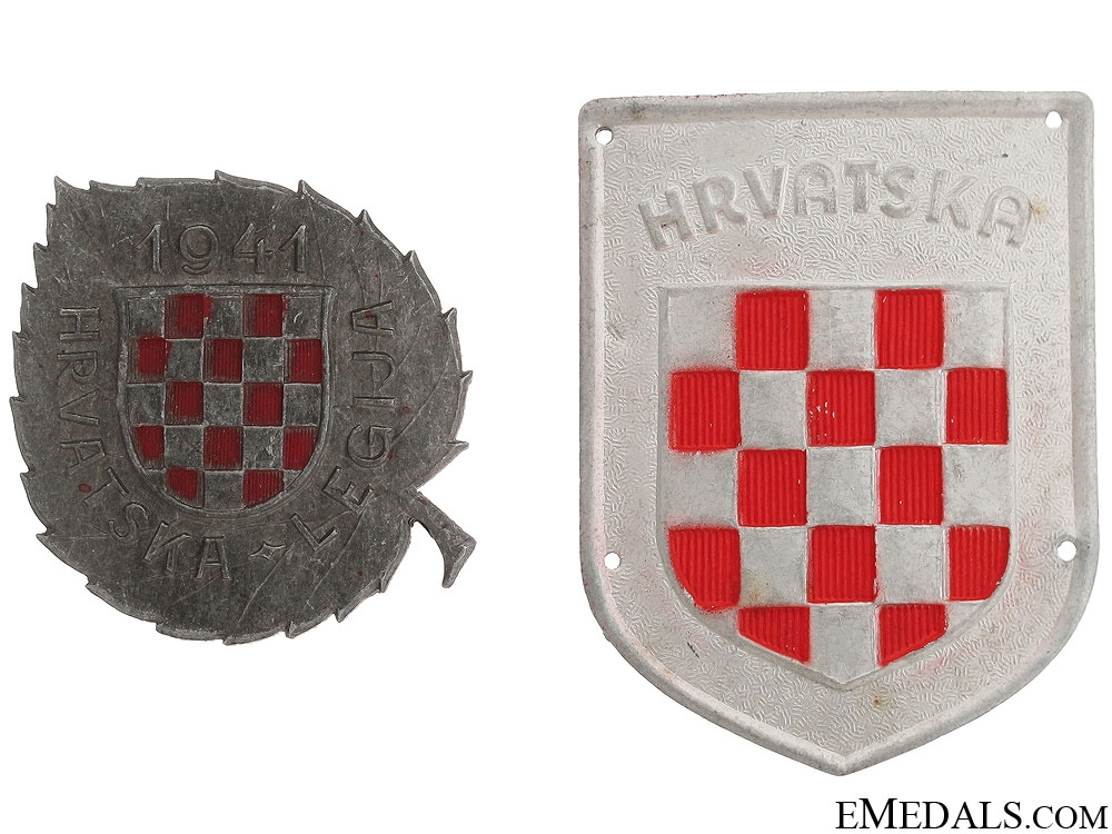 eMedals-Two Russian Front Croatian Badges