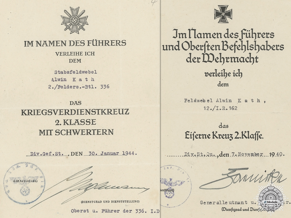 eMedals-Two Second War Award Documents to the 162nd Infantry Regiment