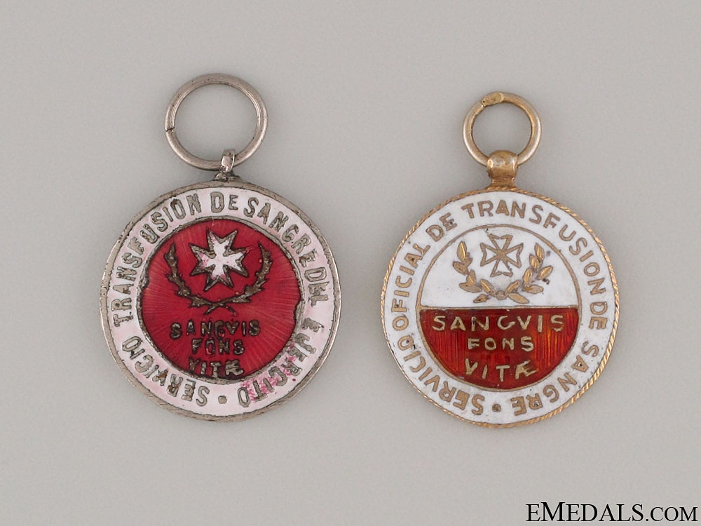 eMedals-Two Spanish Red Cross Miniature Medals