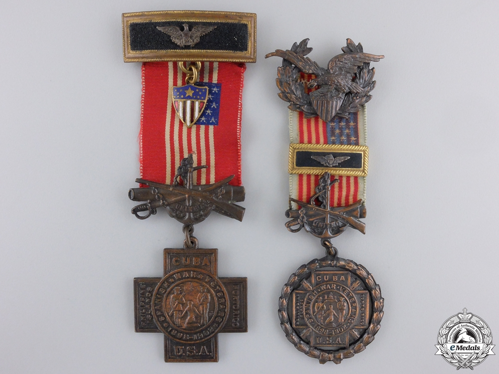 eMedals-Two United Spanish War Veterans Officer's Membership Medals
