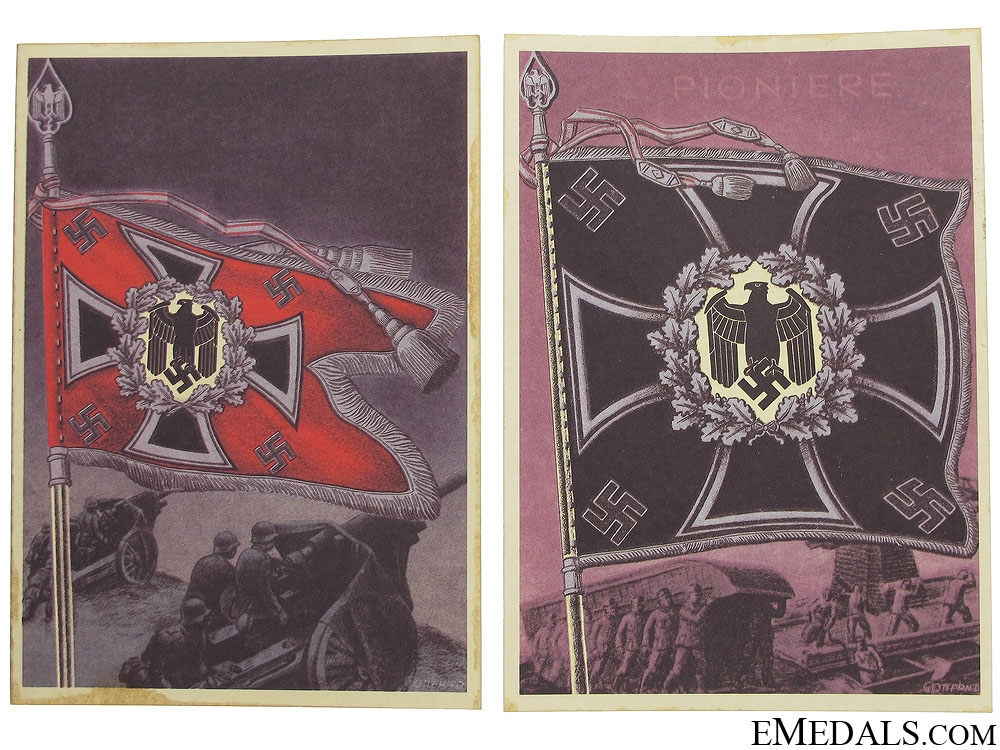 eMedals-Two Wehrmacht Battalion Standard Postcards