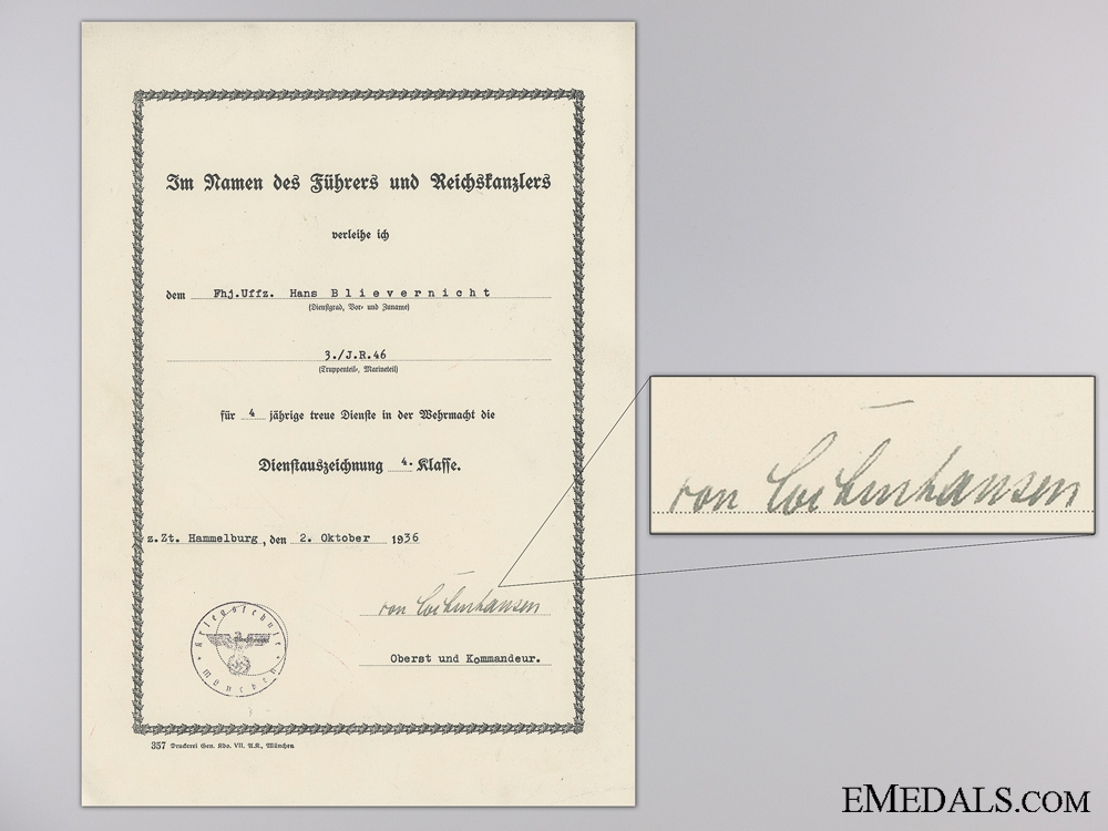 eMedals-Wehrmacht the Long Service Medal 4th Class Award Document