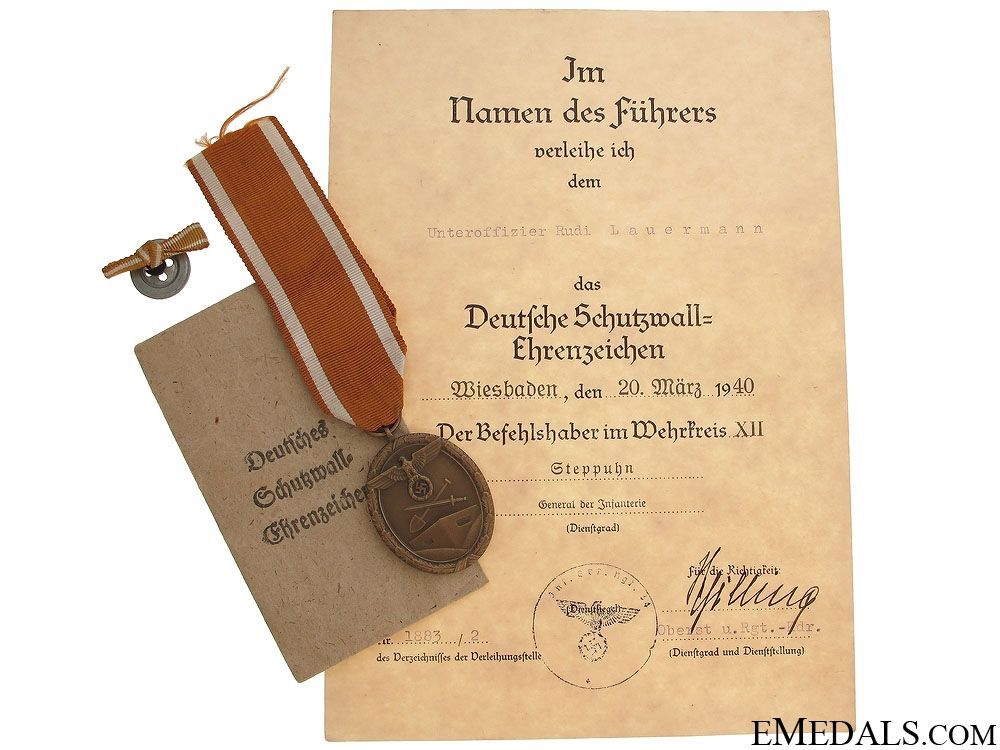 eMedals-West Wall Medal and Award Document