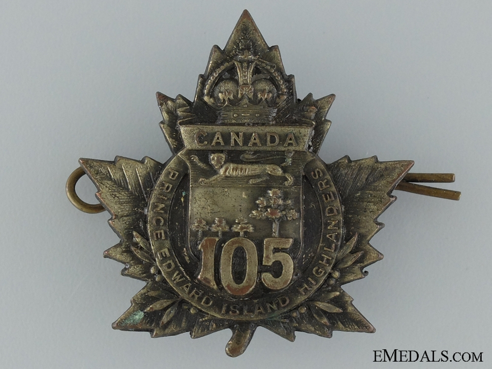 "eMedals-WWI 105th Infantry Battalion ""P.E.I. Highlanders"" Cap Badge CEF"