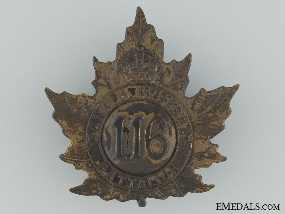 """eMedals-WWI 116th Infantry """"Ontario County Infantry Battalion"""" Cap Badge"""
