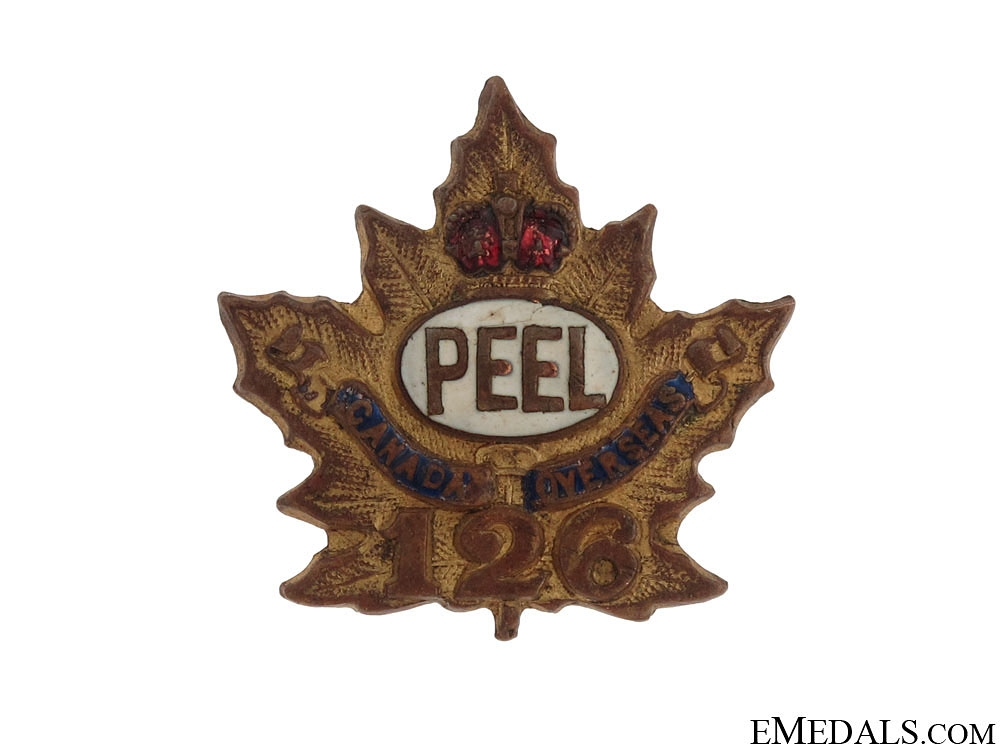"""eMedals-WWI 126th Infantry Battalion """"Peel Battalion"""" Sweetheart Pin"""