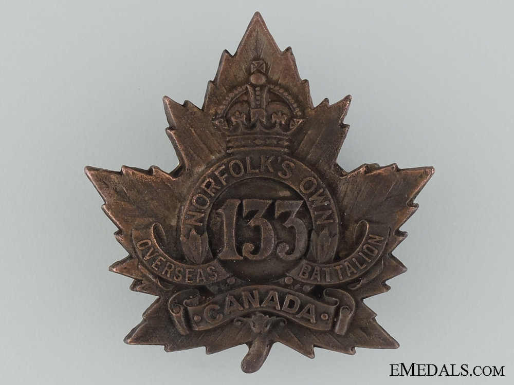 """eMedals-WWI 133rd Infantry Battalion """"Norfolk's Own"""" Cap Badge"""