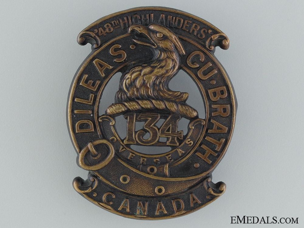 """eMedals-WWI 134th Infantry Battalion """"48th Highlanders"""" Glengarry Badge"""