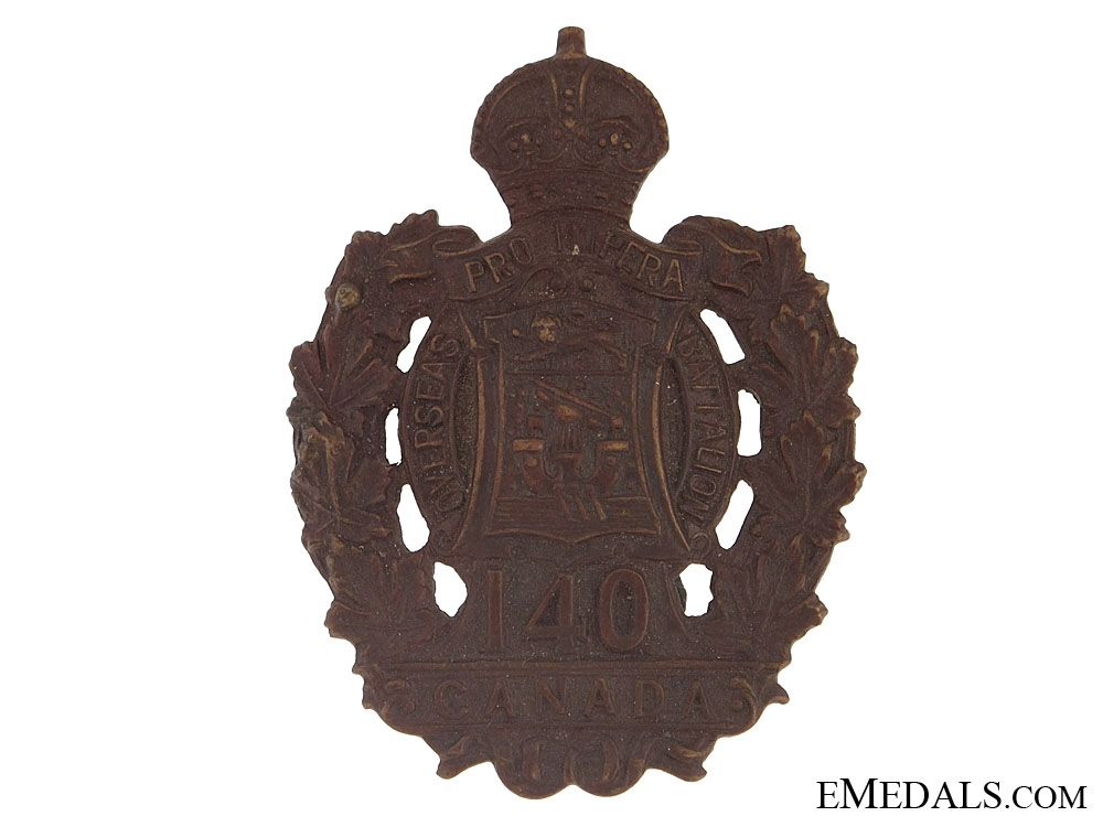eMedals-WWI 140th Infantry Bn Cap Badge - CEF
