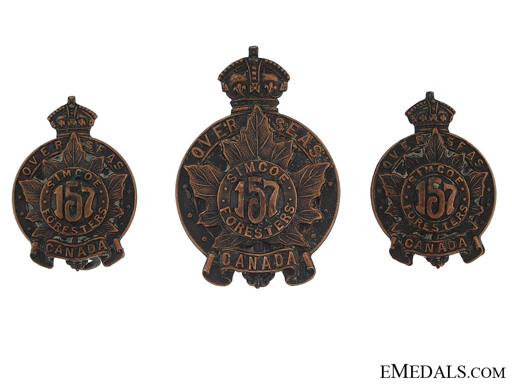 """eMedals-WWI 157th Infantry Battalion """"Simcoe Foresters"""" Set CEF"""