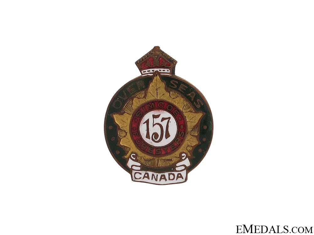 eMedals-WWI 157th Infantry Battalion Simcoe Foresters Pin