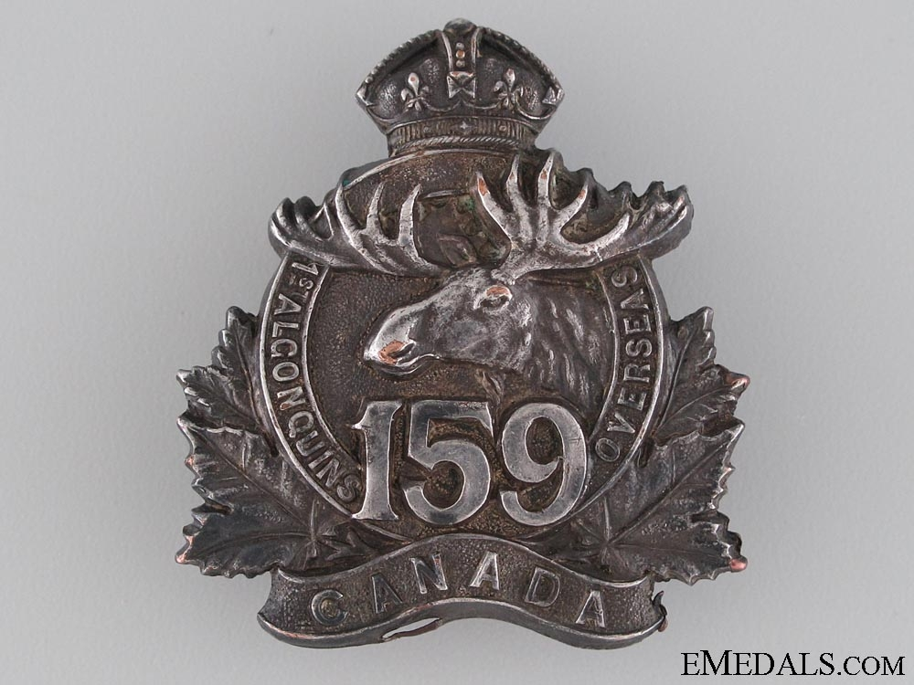 eMedals-WWI 159th Battalion Field Made Officer's Cap Badge