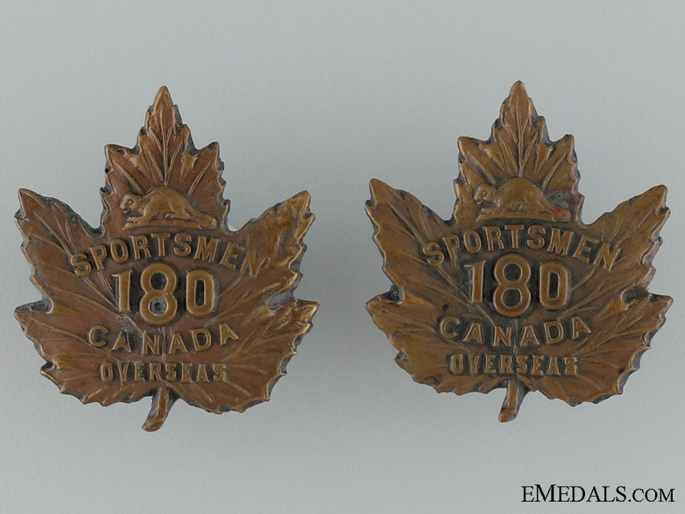 eMedals-WWI 180th Infantry Battalion Collar Pair CEF