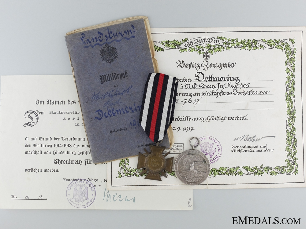 eMedals-WWI 1917 Roeux Bravery Group to Gefr.Dettmering