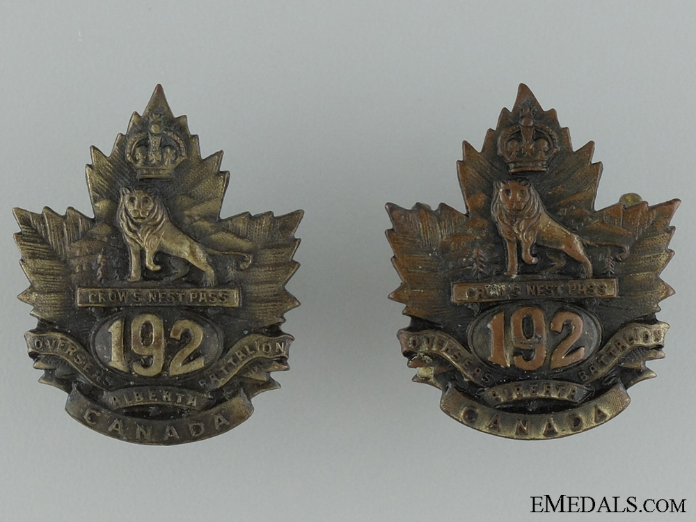eMedals-WWI 192nd Infantry Battalion Collar Badge Pair
