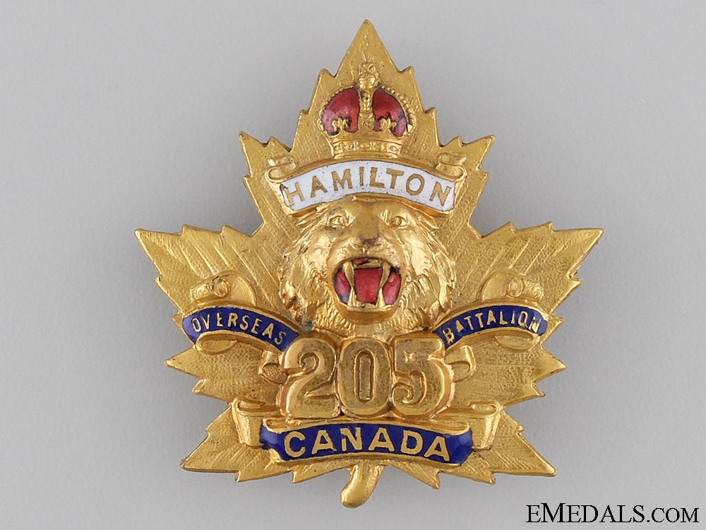 eMedals-WWI 205th Hamilton Tiger Battalion Sweetheart Badge CEF