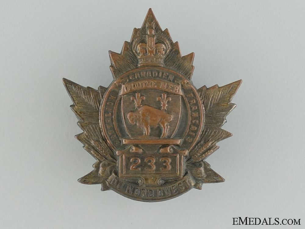 eMedals-WWI 233rd Infantry Battalion Collar Badge CEF