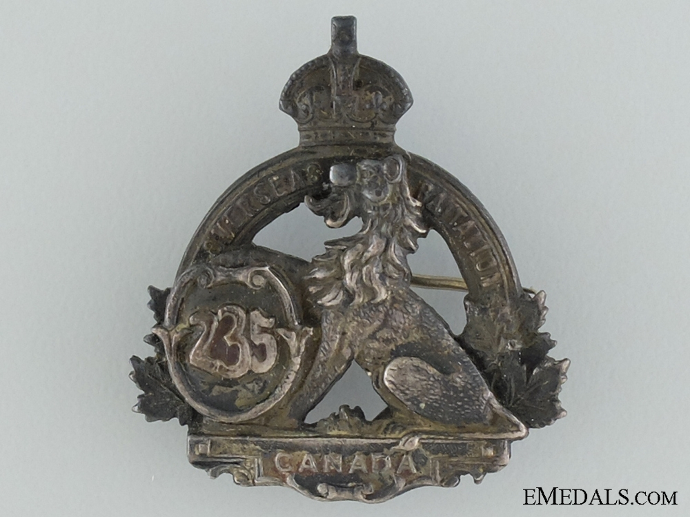 eMedals-WWI 235th Infantry Battalion Officer's Collar Badge CEF