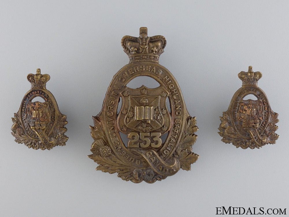 """eMedals-WWI 253rd Infantry Battalion """"Queen's University Highlanders"""" Insignia Set"""