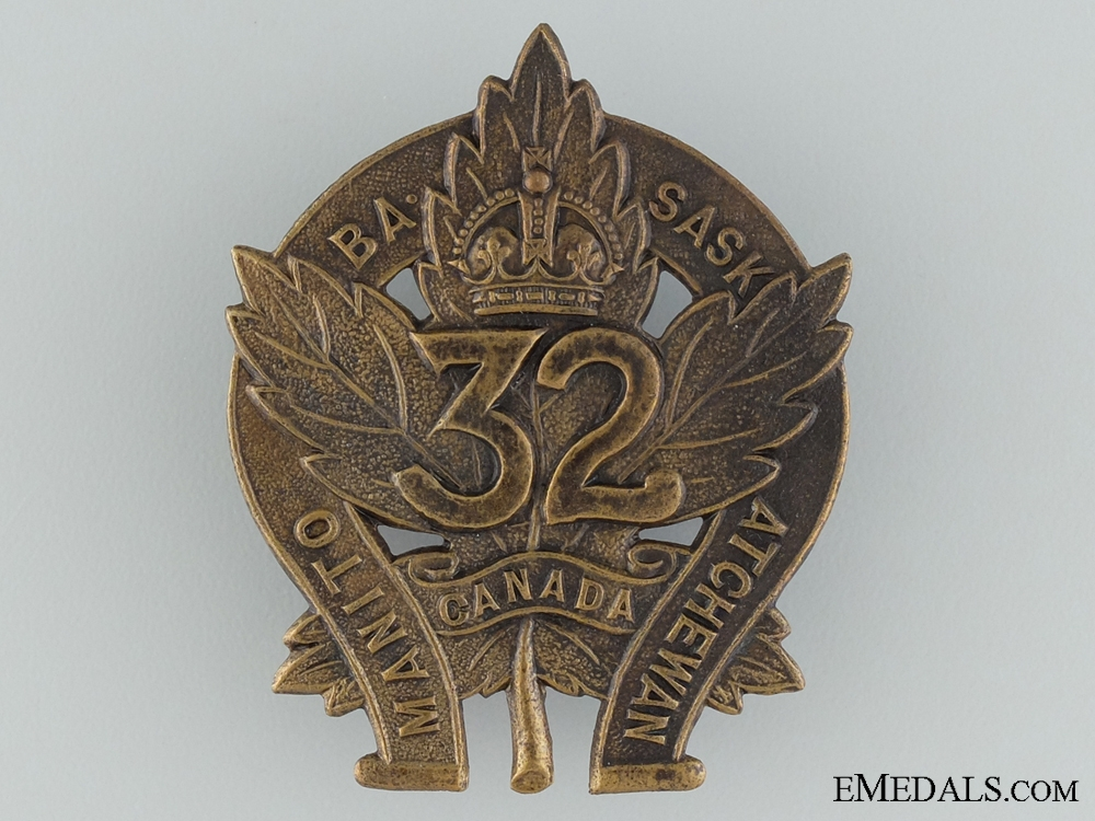 eMedals-WWI 32nd Infantry Battalion Cap Badge CEF