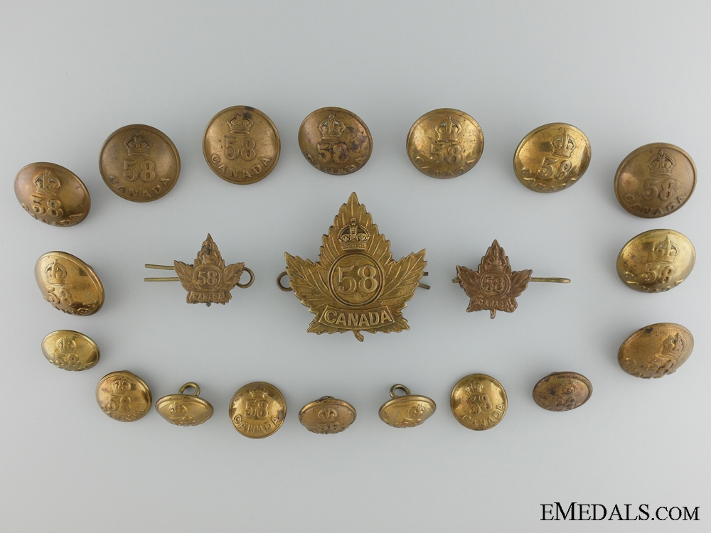 eMedals-WWI 58th Infantry Battalion Officer's Cap Badge, Collar Tabs and Buttons