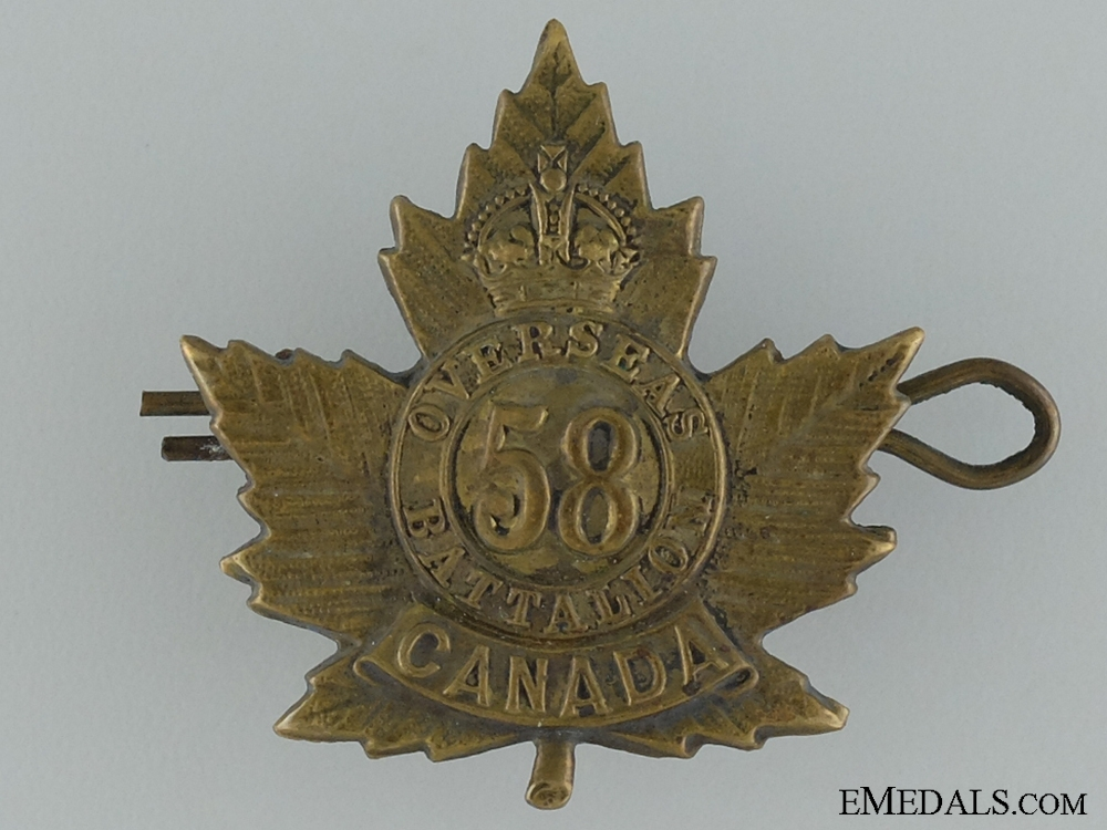 eMedals-WWI 58th Infantry Battalion Cap Badge; 2nd Version