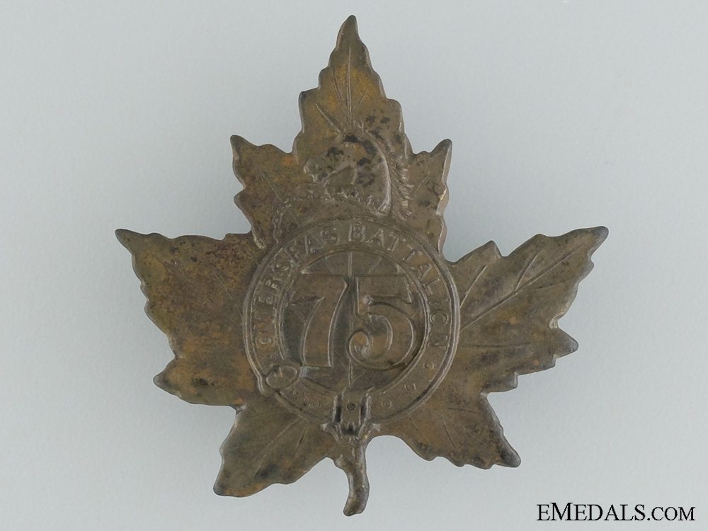 eMedals-WWI 75th Infantry Battalion Cap Badge