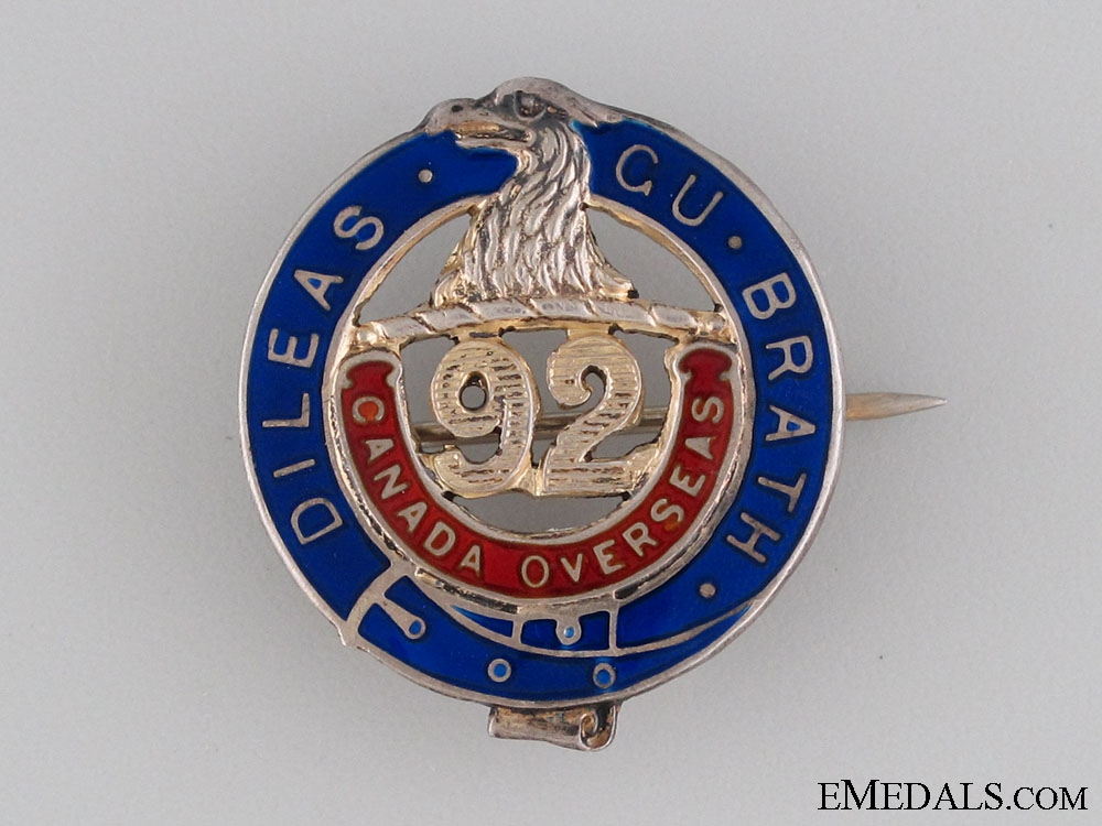 eMedals-WWI 92nd Infantry Battalion Pin CEF