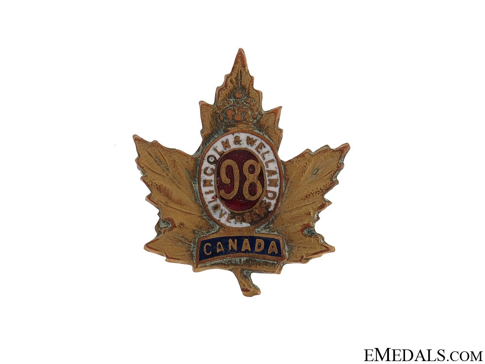 "eMedals-WWI 98th Infantry Battalion ""Lincoln and Welland Battalion"" Sweetheart Pin"