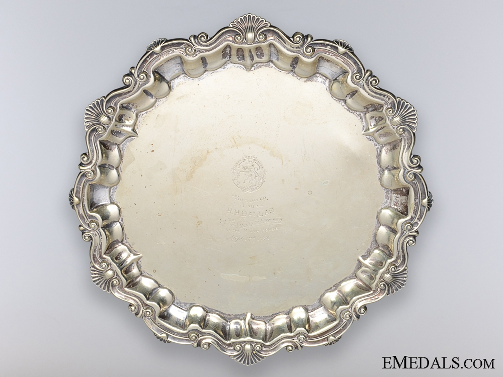 eMedals-WWI 9th Mississauga Horse Officer's Award Plate to H.H. Dallas 1916