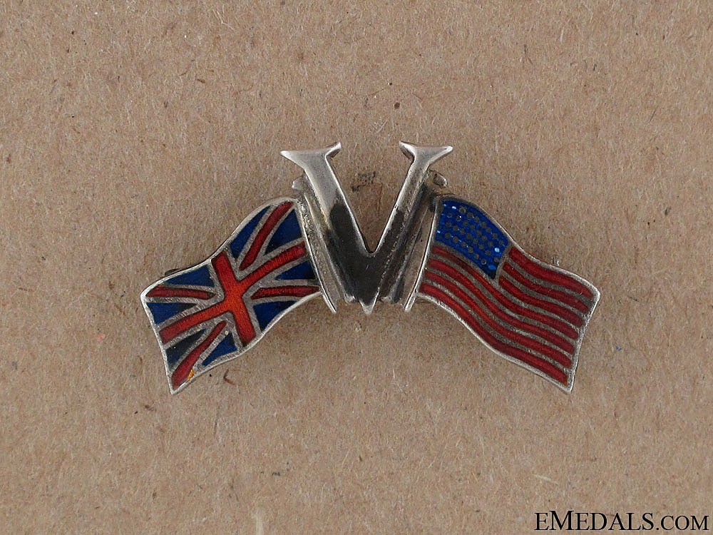 """eMedals-WWI """"V"""" for Victory Allies Pin"""