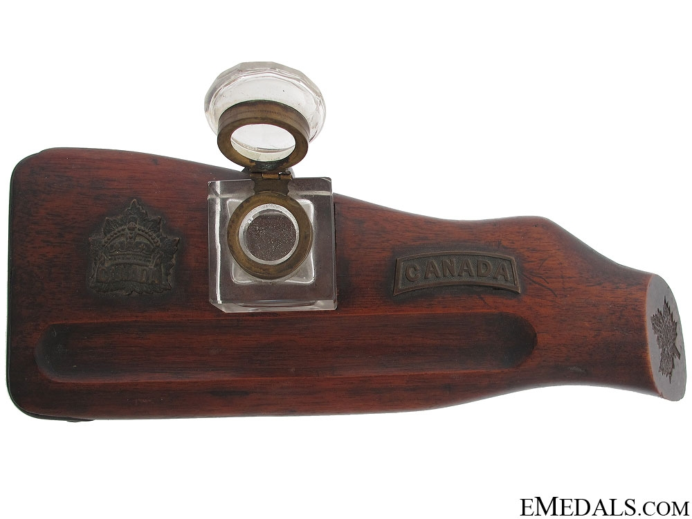 eMedals-WWI CEF Ross Rifle Trench Art Ink Well Stand