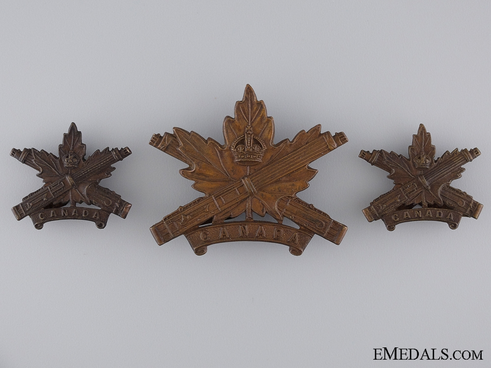 eMedals-WWI Machine Gun Corps Insignia Set; Canadian Issue; 4th Version