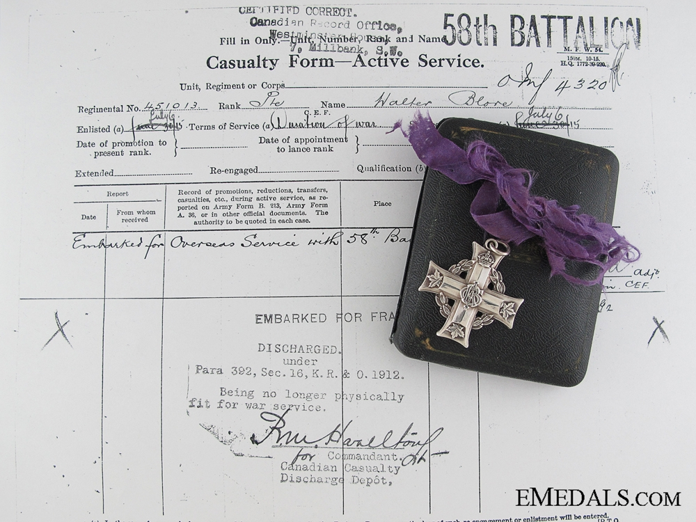 eMedals-WWI Memorial Cross to 58th Infantry Battalion