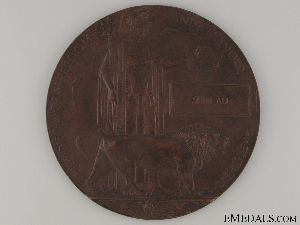 eMedals-WWI Memorial Plaque to Indian Sher Ali