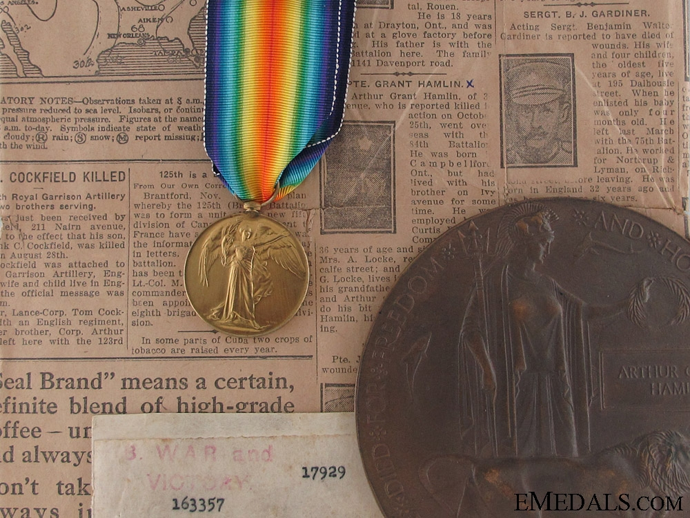 eMedals-WWI Memorial Plaque - KIA on the Somme