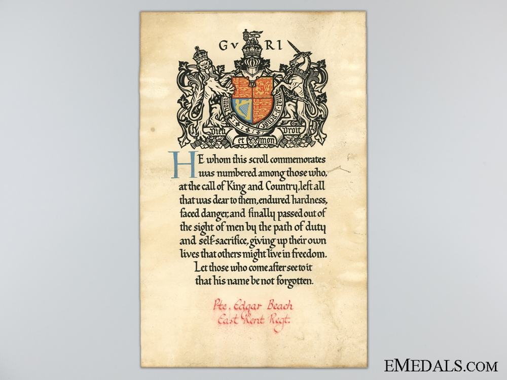 """eMedals-WWI Memorial Scroll to the """"The Buffs"""" 1st Battalion"""