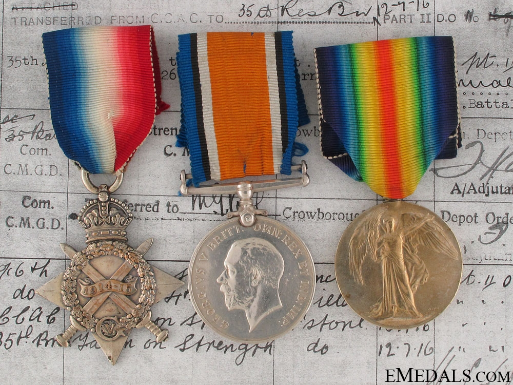 eMedals-WWI Trio - Wounded at St.Eloi & Vimy Ridge