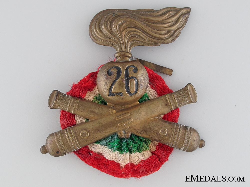 eMedals-WWII 26th Artillery Division Pith Helmet Insignia