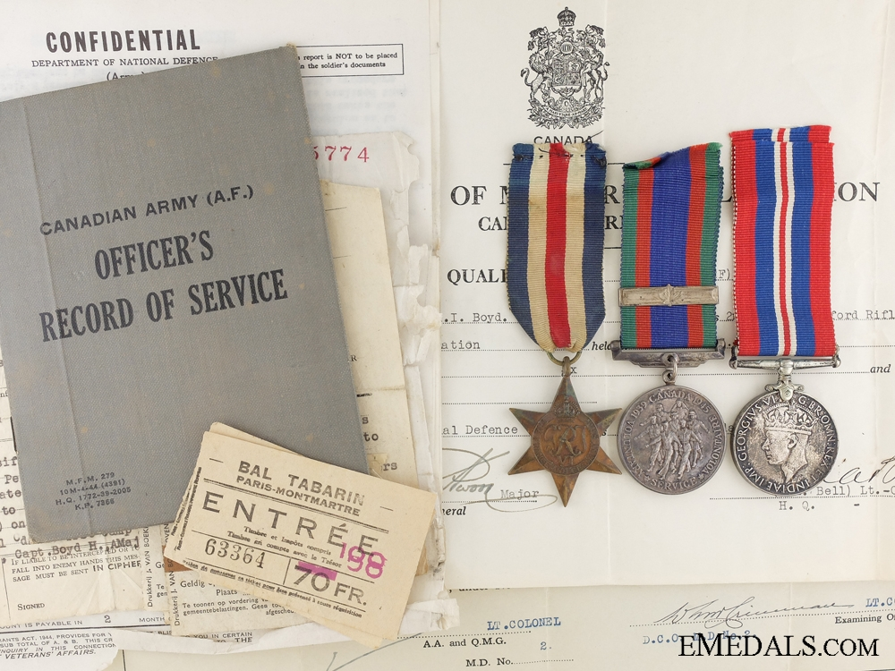 eMedals-WWII Canadian Group to Captain Boyd 2nd Battalion Oxford Rifles