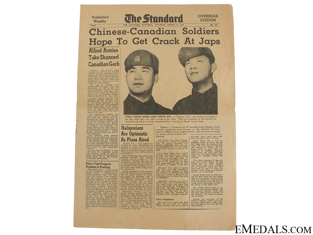 eMedals-WWII Chinese-Canadians Issue of The Standard