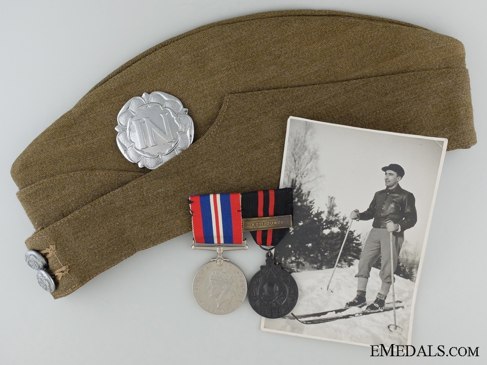 eMedals-WWII Finnish Winter War Campaign Pair and Side Cap to C.D. Roberts