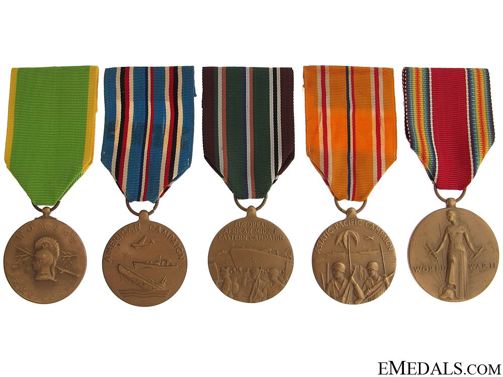 eMedals-WWII Lot of Five Medals