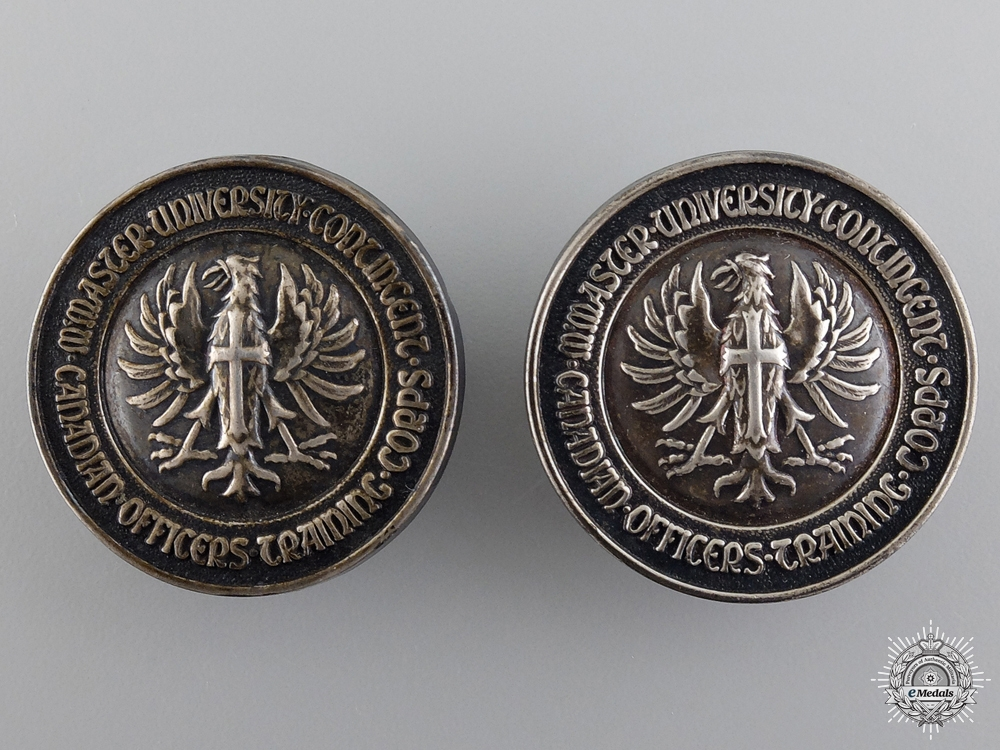 eMedals-WWII McMaster University Contingent Silver Officer Training Corps Collars