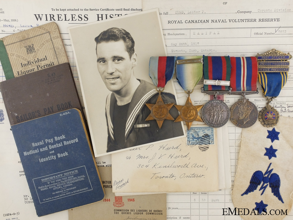 eMedals-WWII Medal Bar & Documents to Telegraphist Hurd; R.C.V.N.R.