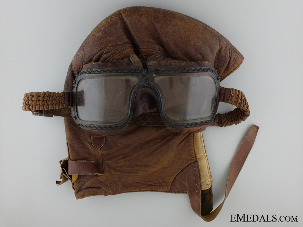 eMedals-WWII RAF Veteran's Leather Helmet and Flying Goggles 1942