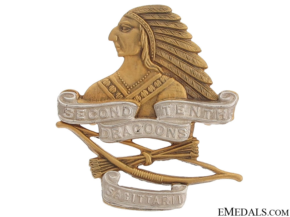eMedals-WWII Second Tenth Draggons Officer Cap Badge