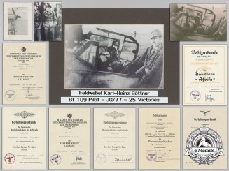 A Document Group to a Luftwaffe Pilot–Ace who Downed 25 Planes including 10 B-24s